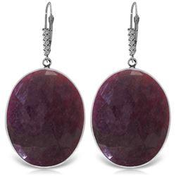 Genuine 39.15 ctw Ruby & Diamond Earrings Jewelry 14KT White Gold - REF-125M2T