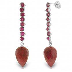 Genuine 29.2 ctw Ruby Earrings Jewelry 14KT White Gold - REF-89A9K