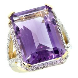 Natural 13.72 ctw amethyst & Diamond Engagement Ring 10K Yellow Gold - REF-65M2H