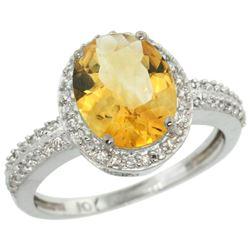 Natural 2.56 ctw Citrine & Diamond Engagement Ring 10K White Gold - REF-32X7A