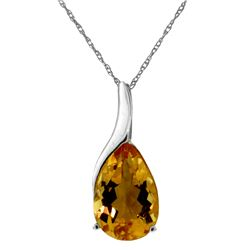 Genuine 5 ctw Citrine Necklace Jewelry 14KT White Gold - REF-31P9H