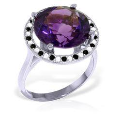 Genuine 6.2 ctw Amethyst, White & Black Diamond Ring Jewelry 14KT White Gold - REF-91W8Y
