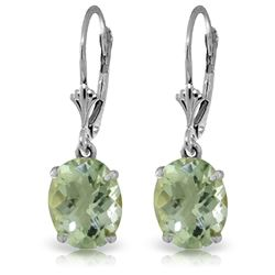 Genuine 6.25 ctw Green Amethyst Earrings Jewelry 14KT White Gold - REF-41H2X