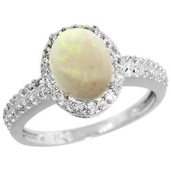 Natural 1.21 ctw Opal & Diamond Engagement Ring 10K White Gold - REF-31Y5X