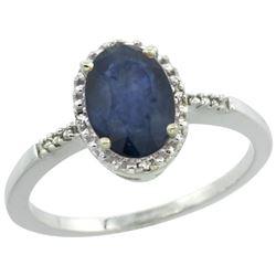 Natural 1.47 ctw Blue-sapphire & Diamond Engagement Ring 10K White Gold - REF-30V3F