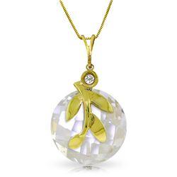Genuine 5.32 ctw White Topaz & Diamond Necklace Jewelry 14KT Yellow Gold - REF-31F2Z