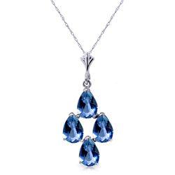 Genuine 1.50 ctw Blue Topaz Necklace Jewelry 14KT White Gold - REF-20P4H