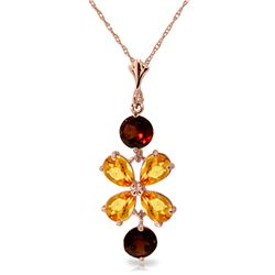 Genuine 3.15 ctw Citrine & Garnet Necklace Jewelry 14KT Rose Gold - REF-30N3R
