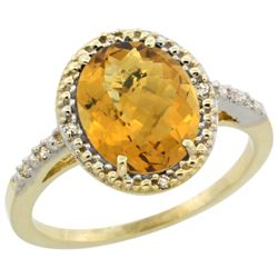 Natural 2.42 ctw Whisky-quartz & Diamond Engagement Ring 14K Yellow Gold - REF-33R8Z