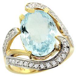 Natural 6.24 ctw aquamarine & Diamond Engagement Ring 14K Yellow Gold - REF-164R7Z