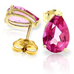 Genuine 3.15 ctw Pink Topaz Earrings Jewelry 14KT Yellow Gold - REF-22P2H