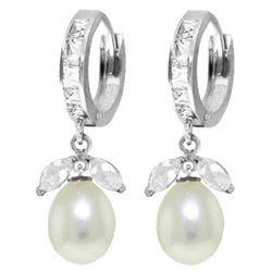 Genuine 10.30 ctw White Topaz & Pearl Earrings Jewelry 14KT White Gold - REF-56F7Z