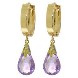 Genuine 6 ctw Amethyst Earrings Jewelry 14KT Yellow Gold - REF-47X4M