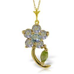 Genuine 0.87 ctw Aquamarine & Pearl Necklace Jewelry 14KT Yellow Gold - REF-26Z2N