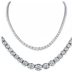 Natural 14.18CTW VS2/I-J Diamond Tennis Necklace 18K White Gold - REF-1468K8F