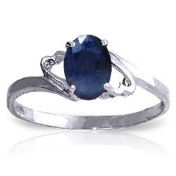 Genuine 1 ctw Sapphire Ring Jewelry 14KT White Gold - REF-22F3Z