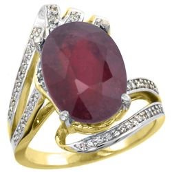 Natural 6.28 ctw ruby & Diamond Engagement Ring 14K Yellow Gold - REF-100X3A