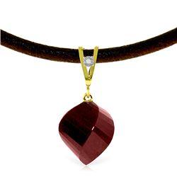 Genuine 15.26 ctw Ruby & Diamond Necklace Jewelry 14KT Yellow Gold - REF-49K8V