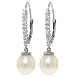 Genuine 8.3 ctw Pearl & Diamond Earrings Jewelry 14KT White Gold - REF-52X7M