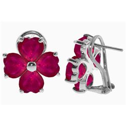 Genuine 7.2 ctw Ruby Earrings Jewelry 14KT White Gold - REF-112X2M
