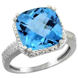 Natural 5.96 ctw Swiss-blue-topaz & Diamond Engagement Ring 14K White Gold - REF-42R3Z