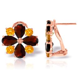 Genuine 4.85 ctw Garnet & Citrine Earrings Jewelry 14KT Rose Gold - REF-58V4W