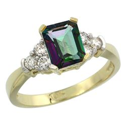 Natural 1.48 ctw mystic-topaz & Diamond Engagement Ring 10K Yellow Gold - REF-43Z3Y