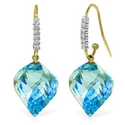 Genuine 27.98 ctw Blue Topaz & Diamond Earrings Jewelry 14KT Yellow Gold - REF-92F8Z