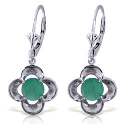 Genuine 1.10 ctw Emerald Earrings Jewelry 14KT White Gold - REF-41A4K