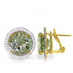 Genuine 10.40 ctw Amethyst & Diamond Earrings Jewelry 14KT Yellow Gold - REF-120W5Y