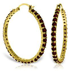 Genuine 6 ctw Garnet Earrings Jewelry 14KT Yellow Gold - REF-104N8R