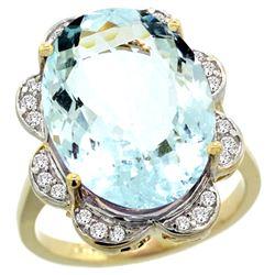 Natural 13.83 ctw aquamarine & Diamond Engagement Ring 14K Yellow Gold - REF-284M9H