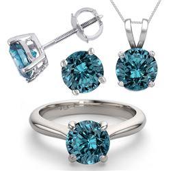 14K White Gold SET 4.0CTW Blue Diamond Ring, Earrings, Necklace - REF-678X7F-WJ13347