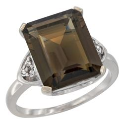 Natural 5.44 ctw smoky-topaz & Diamond Engagement Ring 10K White Gold - REF-32X2A