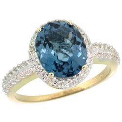 Natural 2.56 ctw London-blue-topaz & Diamond Engagement Ring 14K Yellow Gold - REF-42W8K