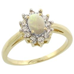 Natural 0.47 ctw Opal & Diamond Engagement Ring 14K Yellow Gold - REF-48M2H