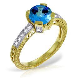 Genuine 1.80 ctw Blue Topaz & Diamond Ring Jewelry 14KT Yellow Gold - REF-98V3W