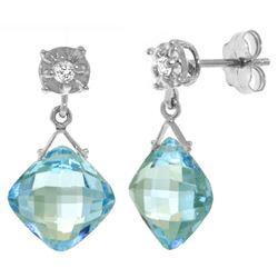 Genuine 17.56 ctw Blue Topaz & Diamond Earrings Jewelry 14KT White Gold - REF-48Y3F