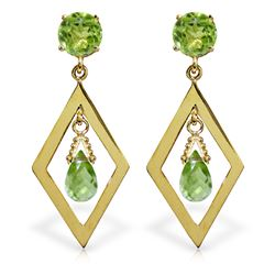 Genuine 2.4 ctw Peridot Earrings Jewelry 14KT Yellow Gold - REF-39P3H