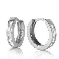 Genuine 1.20 ctw White Topaz Earrings Jewelry 14KT White Gold - REF-37R6P