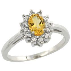 Natural 0.67 ctw Citrine & Diamond Engagement Ring 14K White Gold - REF-48F6N