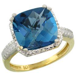 Natural 5.96 ctw London-blue-topaz & Diamond Engagement Ring 10K Yellow Gold - REF-34V3F