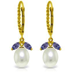 Genuine 9 ctw Tanzanite & Pearl Earrings Jewelry 14KT Yellow Gold - REF-47H3X