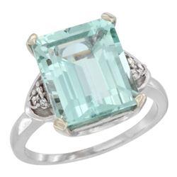 Natural 5.44 ctw aquamarine & Diamond Engagement Ring 10K White Gold - REF-64W7K