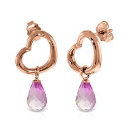 Genuine 4.5 ctw Pink Topaz Earrings Jewelry 14KT Rose Gold - REF-42F6Z