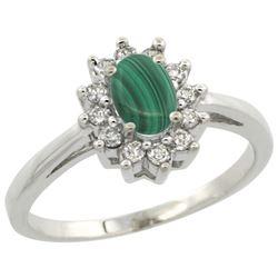 Natural 0.67 ctw Malachite & Diamond Engagement Ring 14K White Gold - REF-47V7F