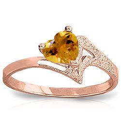 Genuine 0.95 ctw Citrine Ring Jewelry 14KT Rose Gold - REF-36V3W