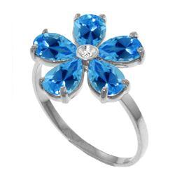 Genuine 2.22 ctw Blue Topaz & Diamond Ring Jewelry 14KT White Gold - REF-35F9Z