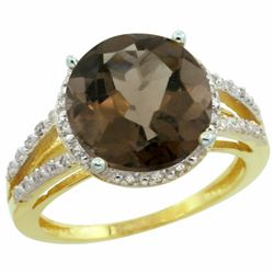 Natural 5.34 ctw Smoky-topaz & Diamond Engagement Ring 14K Yellow Gold - REF-45Z5Y