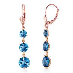 Genuine 7.2 ctw Blue Topaz Earrings Jewelry 14KT Rose Gold - REF-42K6V